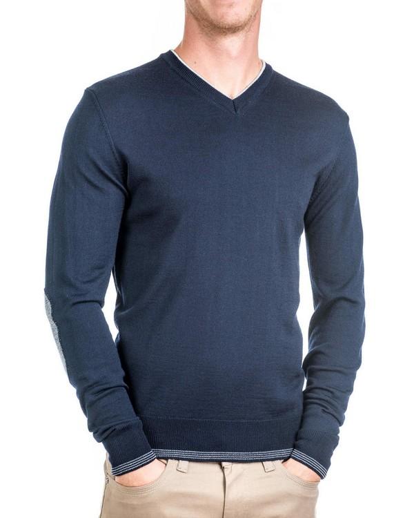 20121420eba Мъжки вълнен пуловер с кръпки на ръкавите 01