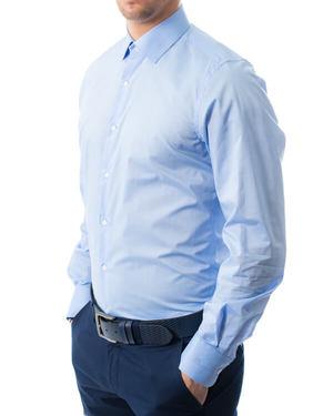Вталена риза от памук сатен в синьо