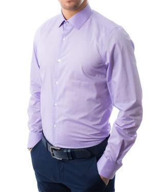 Вталена риза от памук сатен в лилаво