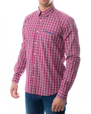 Памучна риза каре с джоб