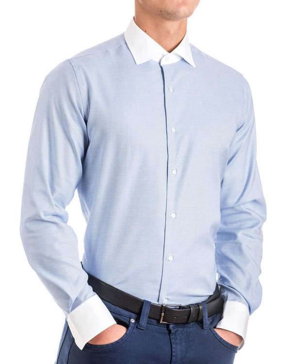 Мъжка памучна риза от структурен плат