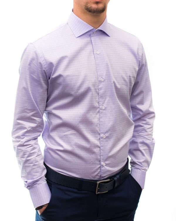 Вталена риза в ситна щампа на ромбове