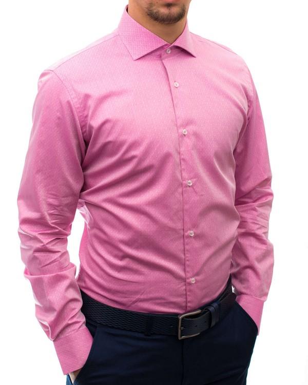 Вталена риза в розово от жакардов материал