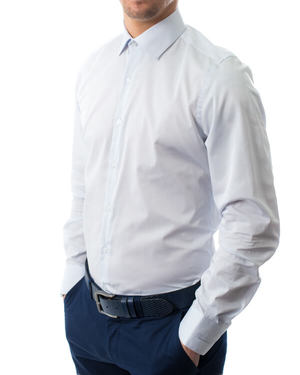 Вталена риза от памук сатен  в светло сиво