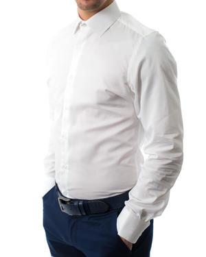 Вталена риза от памук сатен в бяло