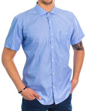 Памучна структурна риза с джоб